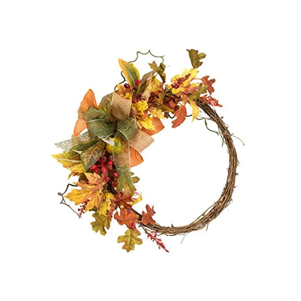 Wreaths Wreath Front Door Wreaths Christmas Decoration Wreath Home Decoration Supplies Flowers Garland ForWedding Home Maple Leaf Wreath Decoration (Color : Yellow, Size : 3636cm)