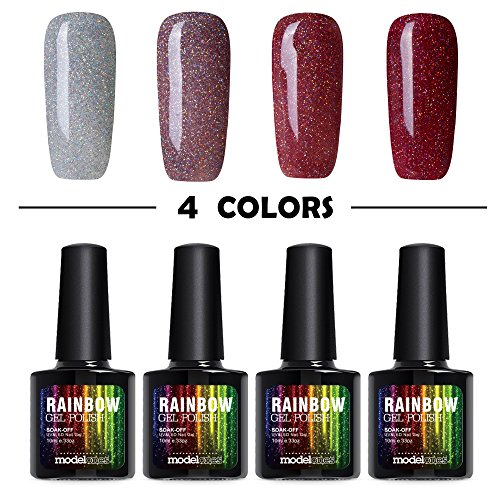 Modelones 4pcs Gel Nail Polish Glitter Red Color Collection