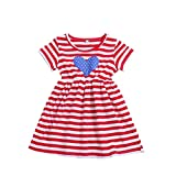 4th July Baby Outfits Independence Day Flag Toddler Kids Baby Girl Stars Striped Comfortable Dress(1Y-5Y) (Red, 120)