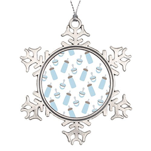 Metal Ornaments Custom Christmas Snowflake Ornaments Beautiful Baby Blue Bottles and Pacifiers Christmas Snowflake Ornaments Balls