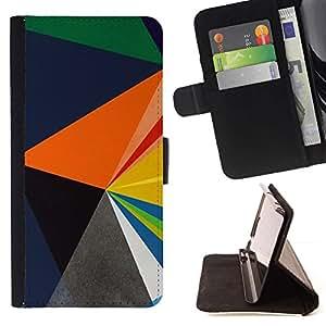 For Samsung Galaxy S4 Mini i9190 (NOT S4) Case , Patrón Azul Naranja Negro Polígono- la tarjeta de Crédito Slots PU Funda de cuero Monedero caso cubierta de piel