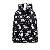 Waterproof Polyester Women Backpack Cute Cat Animal Pattern Printing Girls Daily Travel Knapsack Black 14 Inches