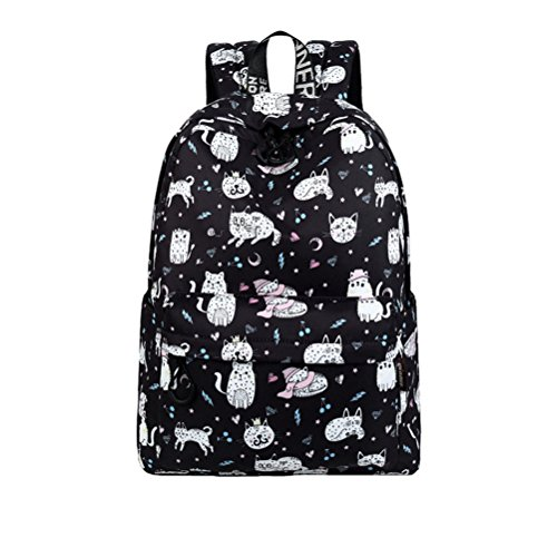 Waterproof Polyester Women Backpack Cute Cat Animal Pattern Printing Girls Daily Travel Knapsack Black 14 Inches by Winerbag