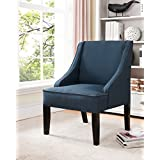 Kings Brand Furniture Solid Wood Legs Accent Chair, Dark Blue Fabric