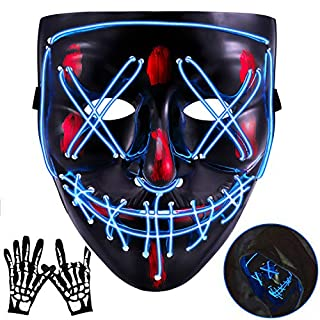 Halloween Mask LED EL Wire Light Up Mask for Festival Cosplay Halloween Costume (Blue)