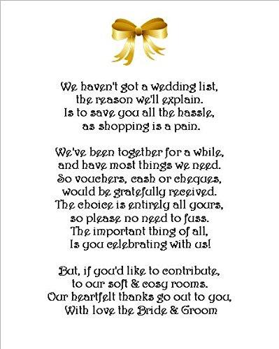24 X Wedding Dinero Regalo Solicitud Poema Tarjetas Para