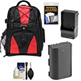 Precision Design Multi-Use Laptop/Tablet Digital SLR Camera Backpack Case (Black/Red) with LP-E6 Battery & Charger + Kit for Canon EOS 70D, 80D, 6D, 7D, 5DS, 5DS R, 5D Mark II III IV