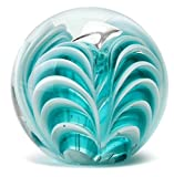Dynasty Gallery Art Glass Zebra Teal Chevron Paperweight 4''