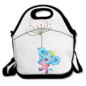 Designer Microfiber Reusable Insulated Lunch Tote Happy Elephant Baby Printed Lunch Tote Purse Containers For Toddler With Straps For Travel