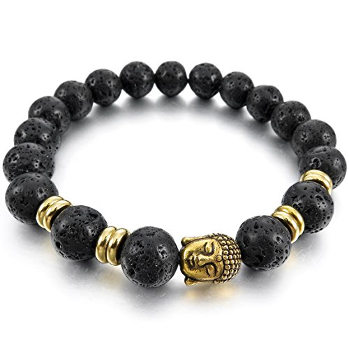 INBLUE Men,Women's 10mm Alloy Energy Bracelet Link Wrist Energy Stone Black Simulated Lava Rock Buddha Mala Elastic (Rock Simulated)