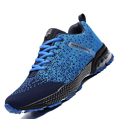 Zeoku Mens Running Shoes Fashion Breathable Air Cushion Sneakers Lightweight Tennis Sport Casual Walking Athletic for Men Outdoor Jogging Shoes(Blue