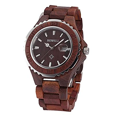 Tamlee Fashion Men's Quartz Analog Wooden Wristwatch with Date and Luminous Hand 30M Water Resistance Red