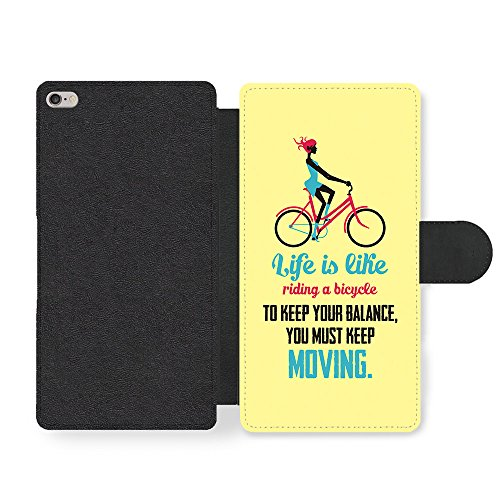 a Bicycle Albert Einstein Life & Love Inspirational Quote Faux Leather case for iPhone 6 Plus 6S Plus ()