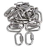CNBTR M4 304 Stainless Steel Quick Link Screw Lock Ring Carabiner Hook Set of 25