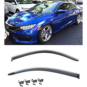 Extreme Online Store for 2016-Present Honda Civic 2Dr Coupe | EOS Visors JDM Smoke Tinted Side Window Vents Deflectors Rain Guard with Chrome Trim