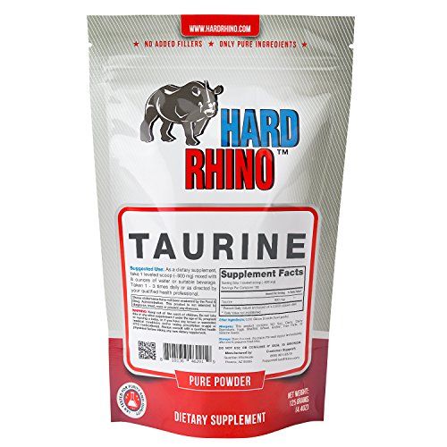 Hard Rhino Taurine Powder, 125 Grams (4.4 Oz), Unflavored, Lab-Tested, Scoop Included