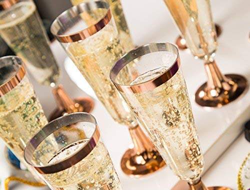 Champagne Flutes - 50-Count Plastic Champagne Glasses, Toasting Flute Set, Decorative Drinking Glasses for Housewarming Parties, Formal Events, Graduation Celebrations, Gift, Rose Gold, 5 Fl.Oz