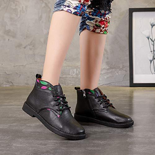 Scarpe Scarpe Dimensione Colore Lacci Stampa Marrone Floreale Donna 37 per per per in Fuxitoggo con EU Nero Stivali con Pelle 4wPIg