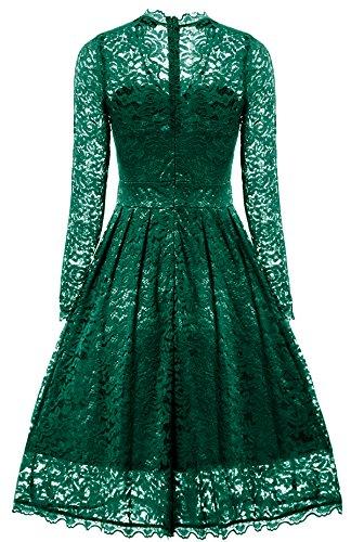 in Vestito Festa Vestiti manica lunga Verde Abito Gigileer Pizzo Donna Eleganti awqZ1fE