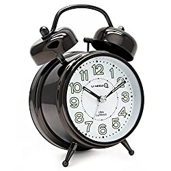 U-needQ Retro Twin Bell Desk Clock with 3 inch Luminous Clock Dial, Non Ticking Silent Sweeping Movement, Easy To Use, Night Light, 5 Minutes Snooze, Extra Loud Alarm - Battery Operated (White)