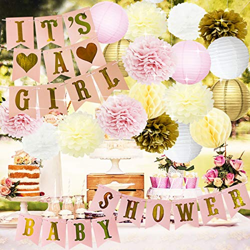 (Baby Shower Decorations Baby Shower & It's A Girl Garland Bunting Banner Tissue Paper Flower Pom Poms Paper Lanterns Paper Honeycomb Balls Pink/White/Gold/Cream Party Decoration Nursery Room)