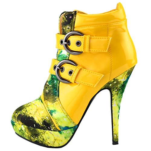 SHOW STORY Yellow Buckle Night Sky High Heel Stiletto Platform Ankle Boots,LF30301YL39,8US,Yellow -