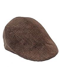 Ukerdo Summer Flax Duckbill Flat Cap Cabbie Newsboy Fitted Hats for Men