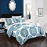 Silver and Purple Duvet Sets Chic Home Ibiza 3 Piece Duvet Set, Full/Queen, Blue