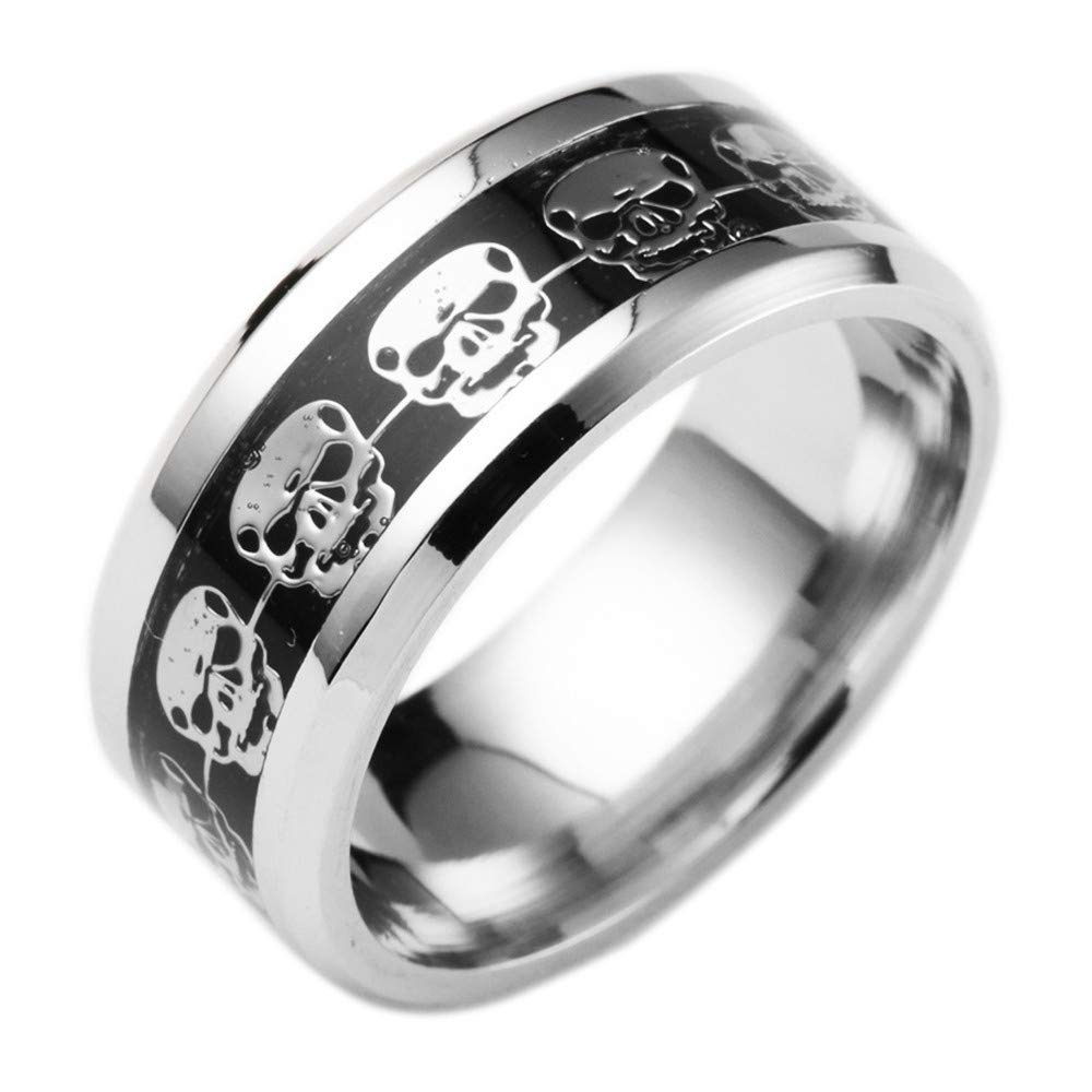 WoCoo Stainless Steel Ring Punk Skull Inlaid with Beveled Edge&Silver Plated(Silver,Size 13)
