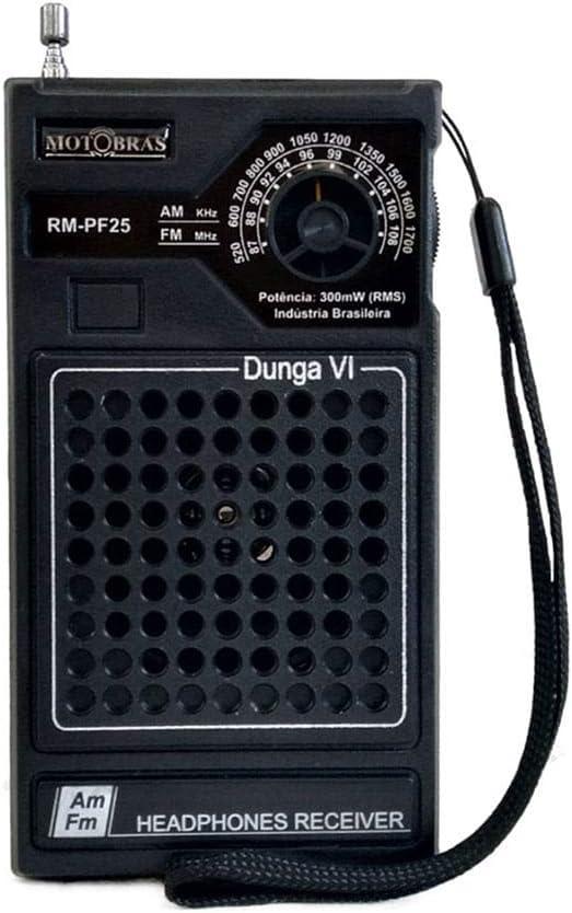 Rádio Portátil AM/FM Dunga Gabinete de Bolso RM PF25 - MotoBras por Motobras