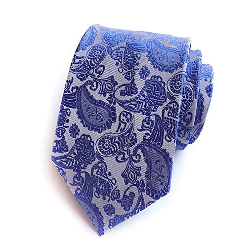 Pisces.goods New Bright Blue Paisley Jacquard Woven Men's Tie Necktie