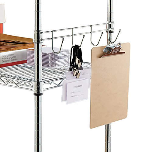 Alera ALE Hook Bars For Wire Shelving, Four Hooks, 18 Deep, Silver (Pack of 2 Bars)