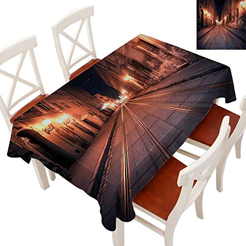 Rectangle Tablecloth Washable Polyester - Great for Buffet Table, Parties, Holiday Dinner, Wedding & More Old European City at Night Deserted Streets Ancient Architecture Buildings Yellow Coral Black -