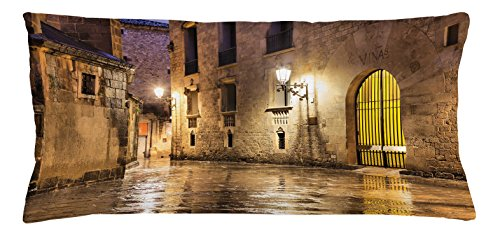 Ambesonne Gothic Throw Pillow Cushion Cover, Gothic Ancient Stone Quarter of Barcelona Spain Renaissance Heritage Night Street Photo, Decorative Square Accent Pillow Case, 36 X 16 Inches, Cream by Ambesonne
