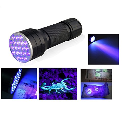 Fronnor 21 LED Flashlight UV Light Portable Ultraviolet Blacklight Handheld Torch Light Urine,Stain Detector