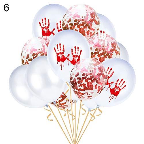 Latex Foil Balloons,longdelaY6 15Pcs 12inch Bloody Handprint Footprint Latex Balloons Halloween Party Decor - 6#]()