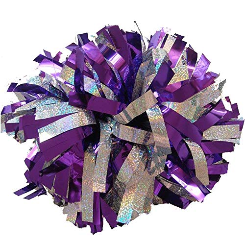 Wgg Cheerleading Pom Poms Metallic Foil & Plastic Ring Pom Poms Cheering Squad Spirited Fun Cheerleading Kit, Pack of 2 (Purple and Holographic Silver)