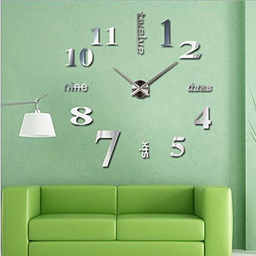 Modern DIY Large Wall Clock 3D Mirror Surface Sticker,Silver