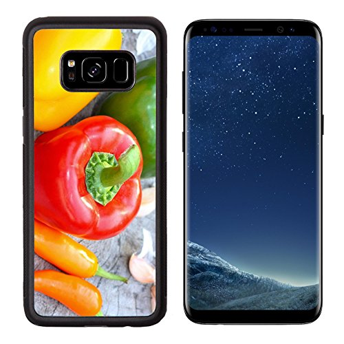 Liili Premium Samsung Galaxy S8 Aluminum Backplate Bumper Snap Case Colored bell peppers on wooden table Photo 19806557 Simple Snap Carrying