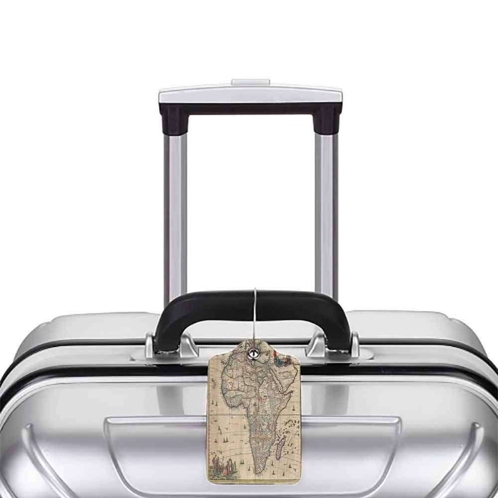 Multi-patterned luggage tag Antique Decor Collection Old Map of Africa Continent Ancient Historic Borders Rustic Manuscript Geography Image Double-sided printing Ivory W2.7 x L4.6