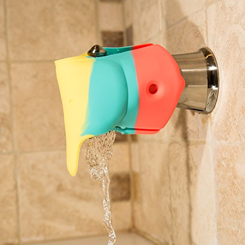 Bath Spout Cover Offers a Soft & Flexible Silicone Bath Faucet Cover for Your Bathtub Great for Baby Bath Safety & Baby Bath Toys Rainbow Colorful Elephant Bathtub Faucet Extender - Bath Spout Cover