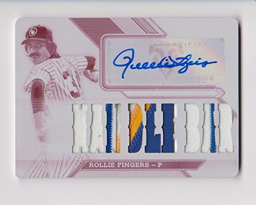 Rollie Fingers 2016 Topps Triple Threads AUTO Milwaukee Brewers Press Plate 1/1 White Whale Handle Bar Game Used Patch Baseball Card - White Patch Handle
