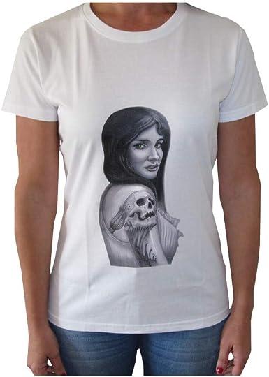 VersoLibre Camiseta de Mujer diseño Chica con Tatuaje. 100% algodón.: Amazon.es: Ropa y accesorios
