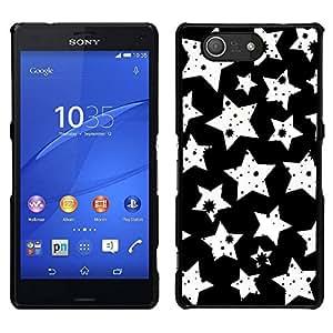 EJOY---Cubierta de la caja de protección para la piel dura ** Sony Xperia Z3 Compact ** --Blanco Modelo de estrellas