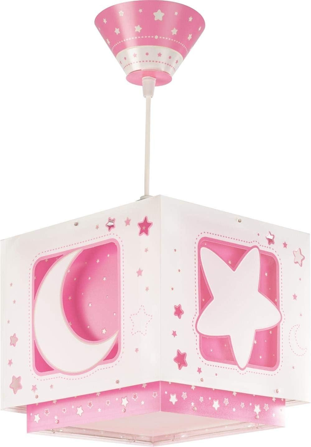 Dalber Moon Light Lámpara de Techo Infantil Luna y Estrellas MoonLight Rosa, 60 W