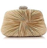 Ladies Vintage Satin Evening Bag Party Wedding Handbag Clutches Bag (Light Brown)