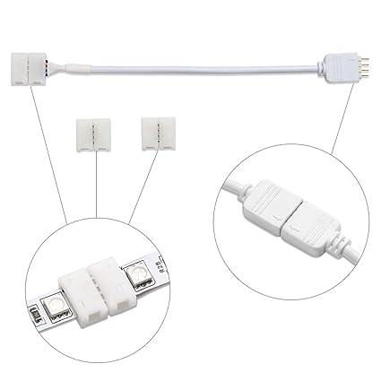 LE Kit de accesorios para tiras RGB LED de SMD 5050, 1 pza de cable de conexión y 2 pzas de conectores 4-pin 10mm para unión entre tira y tira: Amazon.es: ...