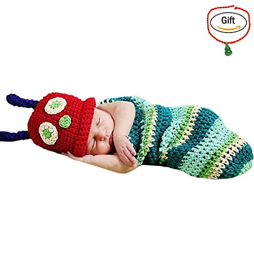 Baigeda Newborn Baby Boy Girl Clothes Handmade Warm Soft Cashmere Crochet Knit Outfit Set Unisex Baby Cute Infant Costume (Caterpillar Costumes)