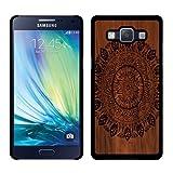 Samsung Galaxy A5 A500 (Gen 2015) Case, Fincibo (TM) Back Cover Slim Fit Hard Plastic Protector, Full Black Leaf Mandala On Wood