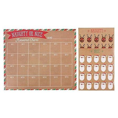 Christmas Naughty Or Nice Chart.Christmas Reward Chart Set Reusable Includes Marker Stickers Stars